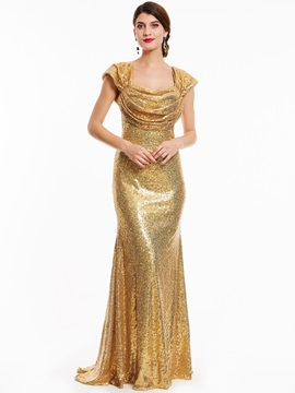 Unique Straps Zipper-Up Sequins Sheath Evening Dress