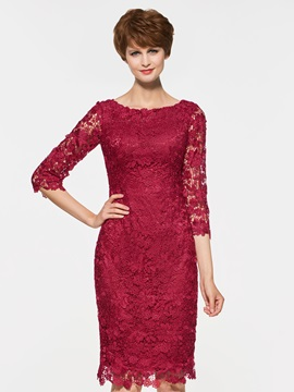 Elegant Half Sleeves Column Lace Mother of the Bride Dress