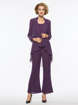 Elegant Scoop Neck Mother of the Bride Jumpsuit with Jacket