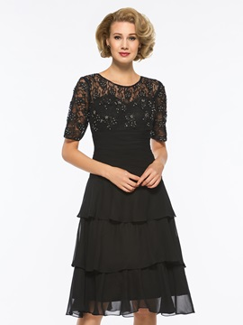Short Sleeve Lace Tiered Mother of the Bride Dress & informal Mother of the Bride Dresses