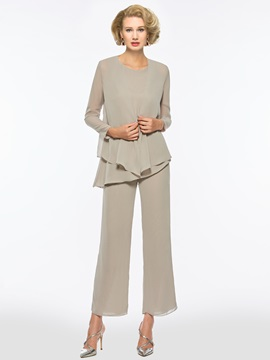 Loose 3 Pieces Mother of the Bride Pantsuits with Long Sleeve Jacket & modest Mother of the Bride Dresses