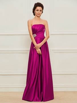 A-Line Strapless Beading Mother of the Bride Dress