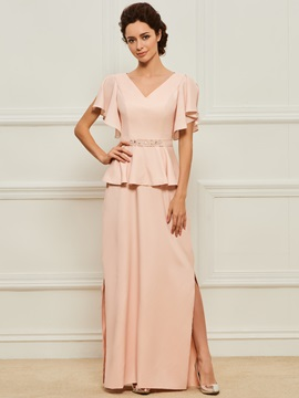 Split-Side Beaded V-Neck Mother of the Bride Dress