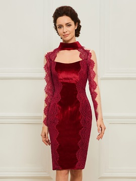 Lace Long Sleeve Sheath Velvet Mother Dress