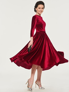 3/4 Length Sleeve Velvet Mother of the Bride Dress