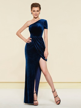 One Shoulder Draped Short Sleeve Wedding Party Dress