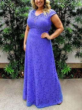 Cap Sleeves Lace Plus Size Mother of the Bride Dress 2019