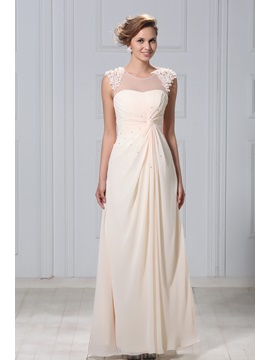 Gorgeous A-Line Beaded Appliques Tulle Neck Long Mother of the Bride Dress & Mother of the Bride Dresses on sale