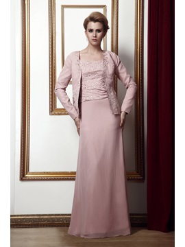 Sheath/Column Square Neckline Floor-Length Alina's Mother of the Bride Dress With Jacket/Shawl & fairy Mother of the Bride Dresses