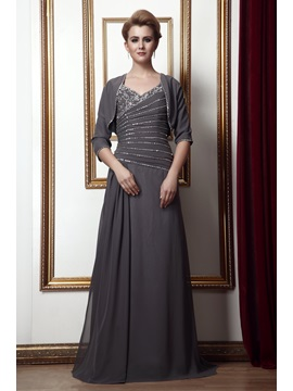 New Style Beading A-Line V-Neck Floor-Length Alina's Mother of the Bride Dress With Jacket/Shawl & Mother of the Bride Dresses 2012