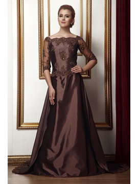 Attractive A-Line Lace/Pleats Off-the-Shoulder Floor-length Alina's Mother of the Bride Dress & petite Mother of the Bride Dresses