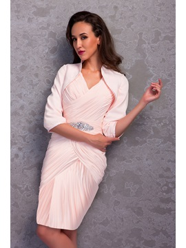 Charming Column V-Neck Pleats Beading Knee-Length Renata's Mother of the Bride/Formal Dress With Jacket/Shawl & Mother of the Bride Dresses from china