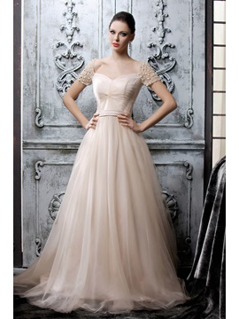 Dramatic A-Line Sweetheart Short Sleeves Pearls Floor-length Polina's Mother Dress & Mother of the Bride Dresses online