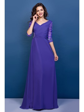 V-Neck Half Sleeves Beaded Chiffon Mother of the Bride Dress & romantic Mother of the Bride Dresses