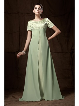 A-line Short-Sleeves Floor-Length Embroidery Taline's Mother of the Bride Dress & fairytale Mother of the Bride Dresses