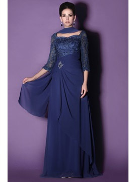 Lace 3/4 Length Sleeve Mother of the Bride Dress With Shawl