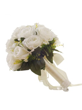 Leaf Satin Rose Wedding Bouquet