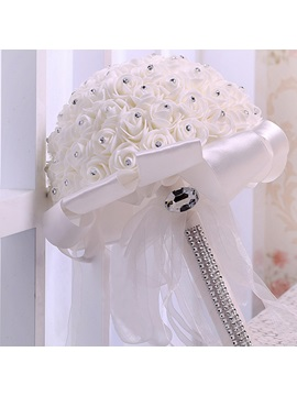 European Rose Satin Beading Wedding Bouquet