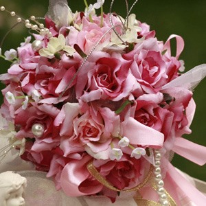 Romantic Pink-red Silk Cloth Wedding Bridal Bouquet