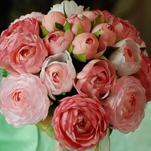 Warm Light Pink-red Silk Cloth Wedding Bridal Bouquet