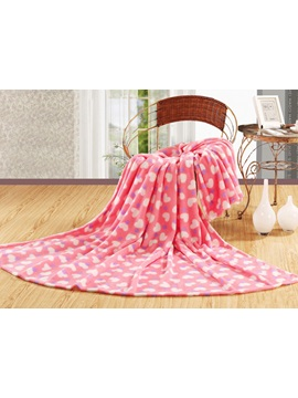 Warm and Soft Pink Flannel Sheet with Heart Pattern