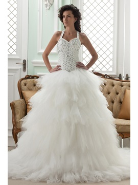 Ball Gown Straps Court Train Ruffles Wedding Dress & Wedding Dresses on sale
