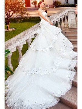 GLamorous A-Line Floor-Length Beading Bowknot Sweetheart Cathedral Train Wedding Dress & Wedding Dresses for sale