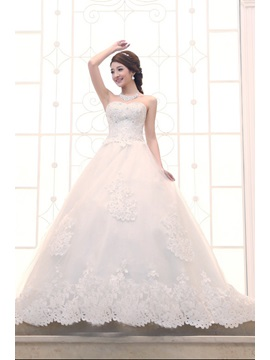 Charming Ball Gown Strapless Floor Length Chapel Train Wedding Dress & Wedding Dresses on sale