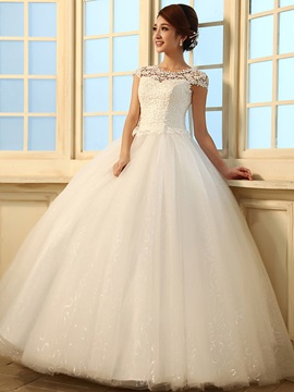 Gorgeous Ball Gown Floor Length Beading Sequins Scoop Lace Wedding Dress & Wedding Dresses under 300