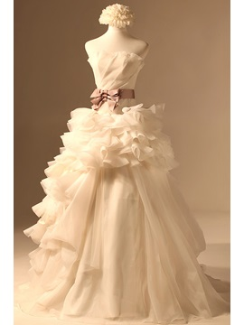 Classical Ruffles A-line Ruched Bodice Strapless Court Train Wedding Dress & Wedding Dresses under 100
