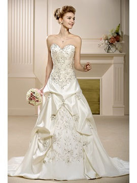 A-Line Sweetheart Embroidery Sleeveless Wedding Dress & Wedding Dresses under 500