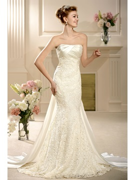 Attractive Empire Floor-length Strapless Watteau Lace Wedding Dress & Wedding Dresses 2012