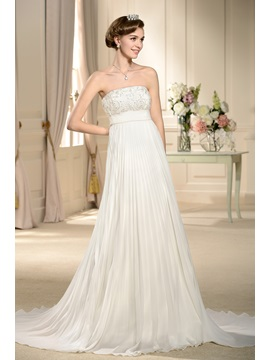 Chic Empire Waist A-line Pleats Strapless Court Train Wedding Dress & simple Wedding Dresses