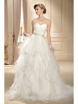 Gorgeous Ball Gown Sweetheart Tiered Chapel Wedding Dress & Wedding Dresses on sale