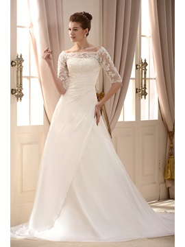 Off the Shoulder Appliques Beading Wedding Dress
