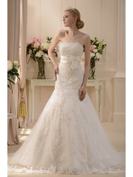 Pretty Slight Trumpet/Mermaid Strapless Floor-length Chapel Wedding Dress & Wedding Dresses under 100