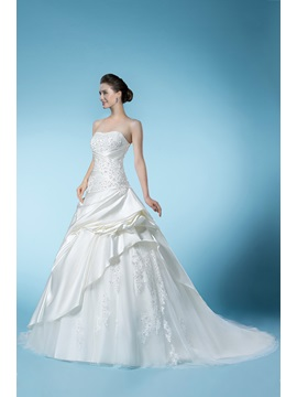 Dramatic Beading Appliques Sweetheart Floor-length Chapel Train Wedding Dress & Wedding Dresses under 500
