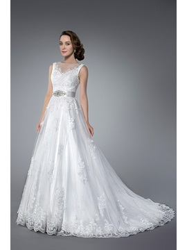 Elegant Beading&Sequins Chapel Train Zipper-up Jewel Neck Sleeveless Tulle Wedding Dress & Wedding Dresses for less