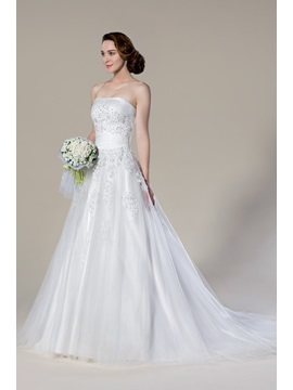 Faddish Strapless Appliques Court Train Sleeveless A-Line Wedding Dress & Wedding Dresses from china