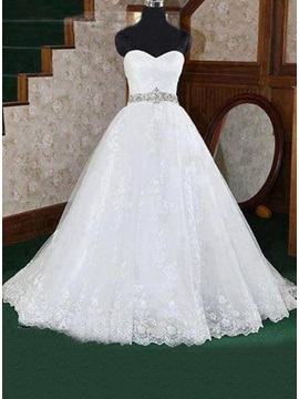 Amazing Strapless Sweetheart Floor Length A-Line Wedding Dress
