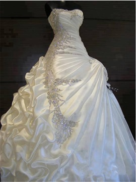 Exquisite Beaded Crystal Pick-ups Ball Gown Wedding Dress & Wedding Dresses on sale