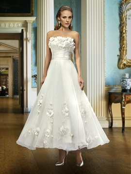Classical A-Line Strapless Flowers Ankle-Length Wedding Dress & fairytale Wedding Dresses