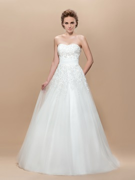 A-Line Appliques Sequins Floor-Length Wedding Dress & Wedding Dresses under 100