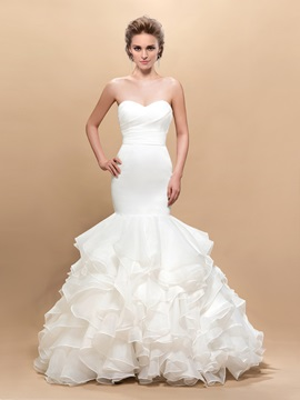 Attractive Sweetheart Trumpet Ruffles Button Wedding Dress & formal Wedding Dresses