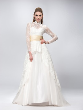 High Collar Neck Long Sleeve Bowknot Sweep Train Lace Wedding Dress & fairy Wedding Dresses