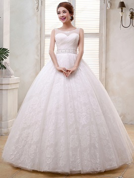 Elegant Ball Gown Scoop Neckline Beading Sashes Lace-Up Wediing Dress & modest Wedding Dresses