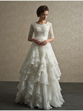 Half Sleeve Sequins Appliques Ruffles Wedding Dress