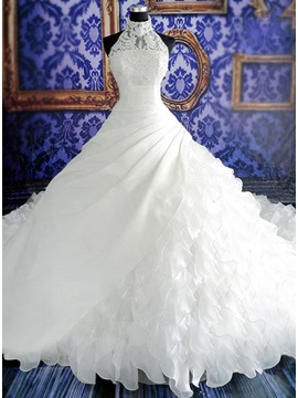 Stunning Beaded Halter Neck Tiered White Organza Cathedral Wedding Dress & fashion Wedding Dresses