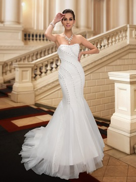 Beaded Sweetheart White Mermaid Lace Wedding Dress & Wedding Dresses 2012