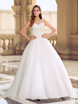 Eye-catching Button Sheer back Beaded Organza Ball Gown Wedding Dress & Wedding Dresses under 100